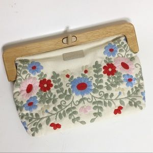 Apple & Bee Embroidered Canvas Clutch Bag